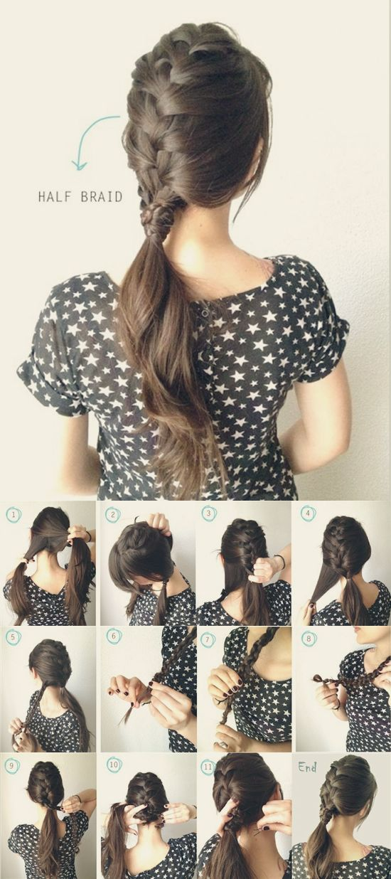 half french braided ponytail - instead of the extra braid around the hair band, I think a clip or ribbon would be cute :)