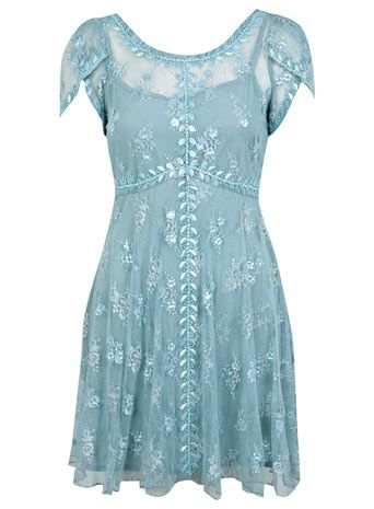 Petites Blue Beaded Tea Dress