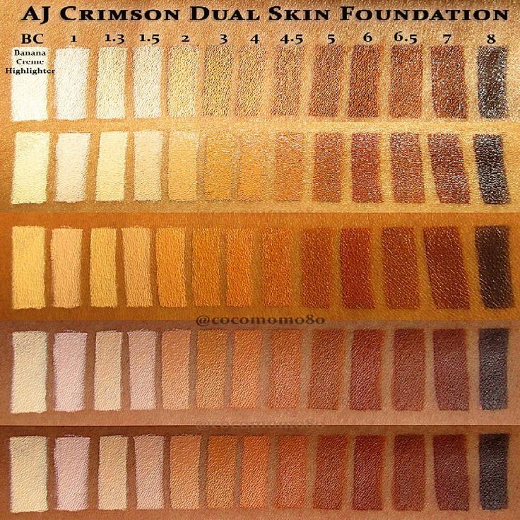 """CocoMomo! on Instagram: """"AJ Crimson Dual Skin Foundation • Various Room Lighting • ALL 12 shades + the BC (Banana Creme Highlighter) Swatch • $15 for the """"Match Me Perfect"""" Sample Kit • $35 for Pro Pan (single foundations) and Highlight+Contour (duo foundation palette) • Available at ajcrimson.com • My skin tone: MAC NC44.5/NC45 --- My AJ Crimson match is between 3 to 4.5 • edit: the top swatch became badly altered once uploaded to Instagram . • #ajcrimson #dualskin #foundation #"""