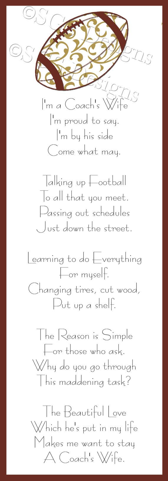 Football Coach's Wife Poem Digital File by SouthernGypsySoul, $5.00