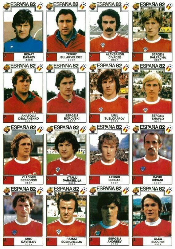 USSR team stickers for the 1982 World Cup Finals.