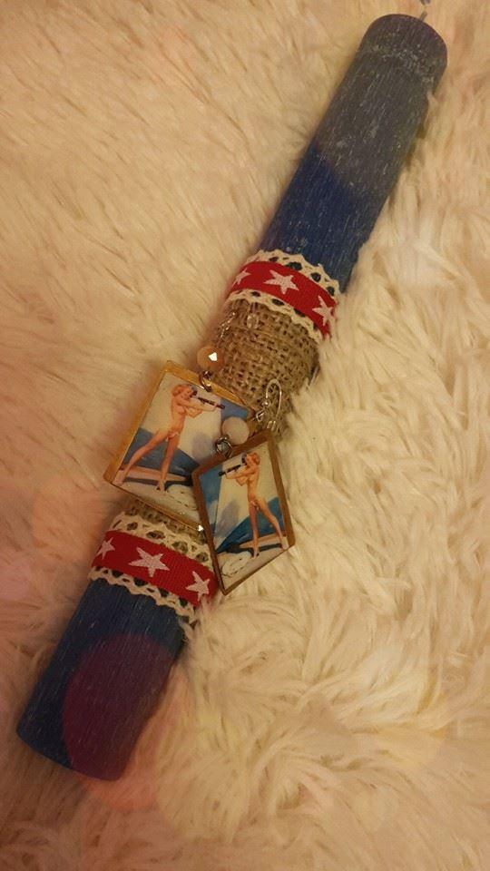 """Αρωματική λαμπάδα με pin up girl σκουλαρίκια. fb:Μικρά Δημιουργήματα """"fgr""""- Little Crafts """"fgr"""""""