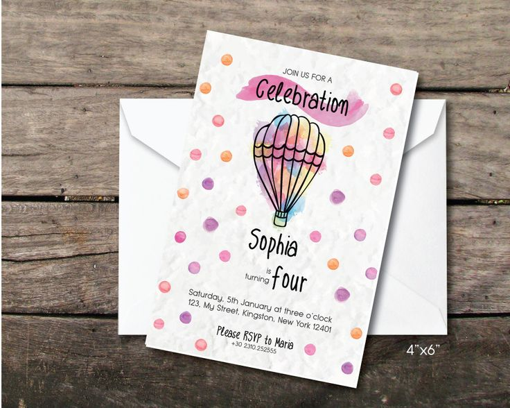 """Printable and printed birthday baby party invitation """"watercolour airbaloon"""", fourth birthday girl, paper and party supplies,thank you card by BeePrintDesigns on Etsy"""