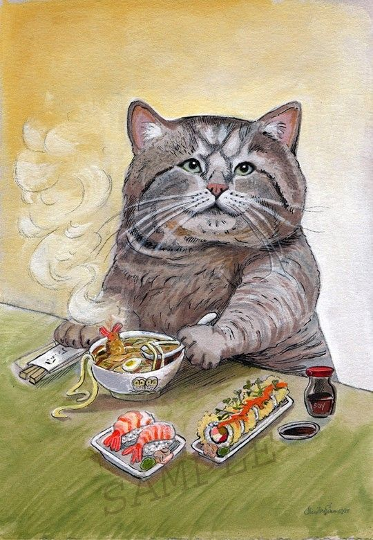 SUSHI CAT Tempura Udon Signed print by by BluebirdieBootique, $20.00  bluebirdiebootique.etsy.com