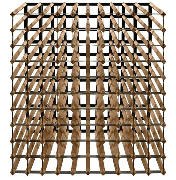 This well-crafted cellar trellis wine rack holds up to 110 bottles. A great use for any space, this unit can be used as a freestanding unit or as a module in a larger rack system. Features quality racks made of redwood and powder-coated metal to further prevent scrapes on your wine bottles.