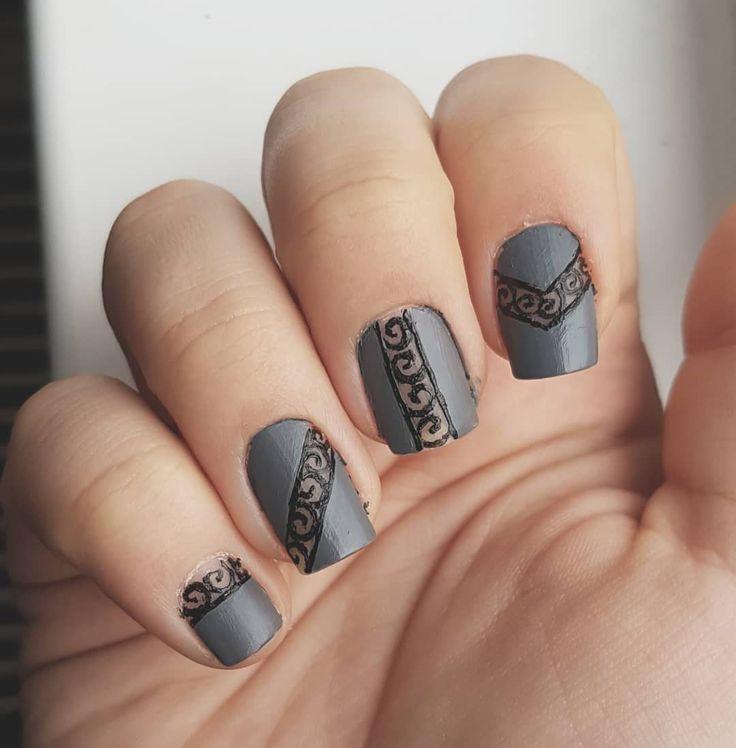 "Domi Králiková (@domi_nailart) Grey art #grey #greynails #nailart #nails2inspire #nailartideas #nailartclub #nailporn #nails #nairtist #nailartlover #lacenailart #lace #lacenails #arabicnails"""