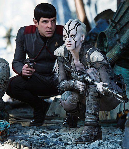 Star Trek Beyond. Zachary Quinto with Sofia Boutella.