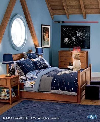 Dormitorio decorado al estilo rustico para niño varon