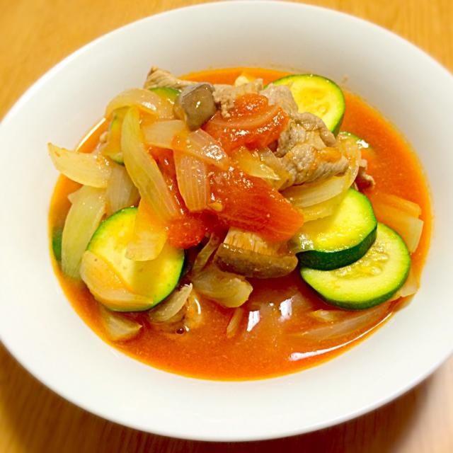 夏向けレシピ - 7件のもぐもぐ - ズッキーニと豚肉のトマト煮 by soware