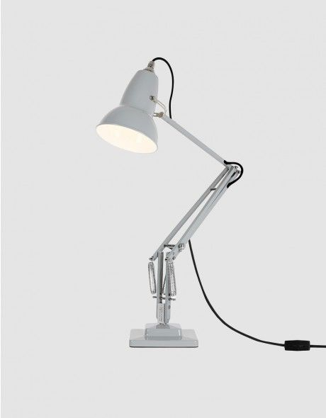 Iconic Original 1227 desk lamp from Angelpoise in Dove Grey. Designed in 1935 by George Carwardine. Gloss paint finish. Anglepoise® constant tension spring technology delivers ultimate flexibility and perfect balance. Line cord switch. 13W/E26 CFL bulb in