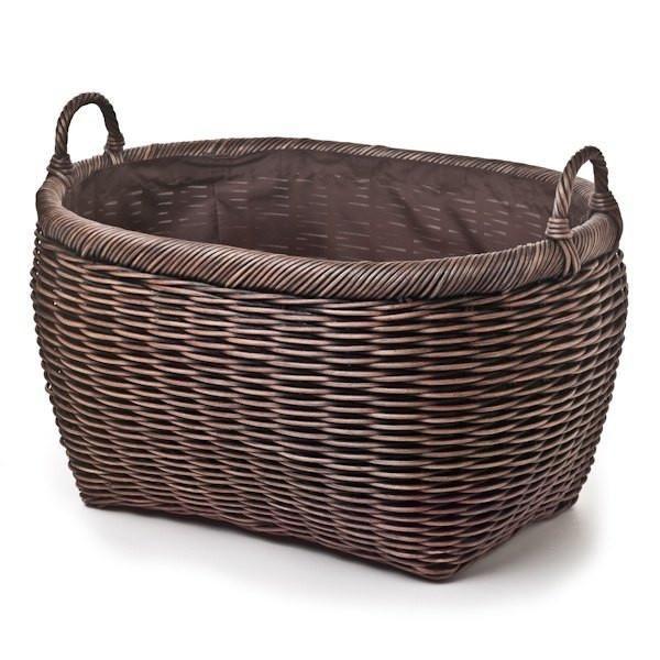 The Basket Lady Oval Laundry Basket Antique Walnut Brown Jumbo (size 1)