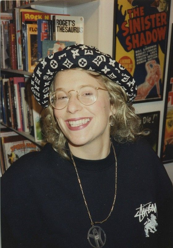 """Fiona Cartledge, 1990: """"This is me in my flat wearing a Stussy sweatshirt top, a Stussy 'bucket hat' and a Billy Boy pendant."""""""