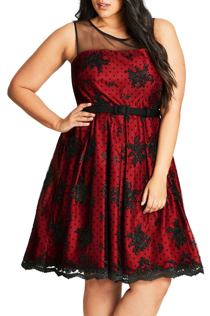 Embroidered Ruby Belted Fit & Flare Dress (Plus Size)