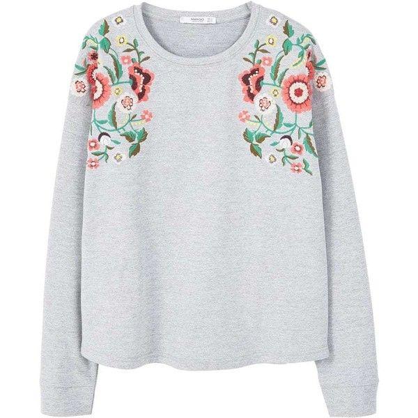 Floral Embroidered Sweatshirt (695 ARS) ❤ liked on Polyvore featuring tops, hoodies, sweatshirts, floral tops, embroidered sweatshirts, embroidered top, cotton sweatshirts and mango sweatshirt