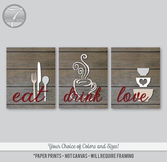 Farmhouse Kitchen Art Print Set Eat Drink Love Faux Wood Etsy Kitchen Wall Art Modern Kitchen Wall Art Red Kitchen Decor