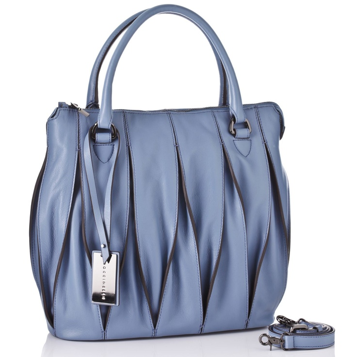 Coccinelle Blue Twist Detail Leather Tote Bag 35 x 32 x 12cm