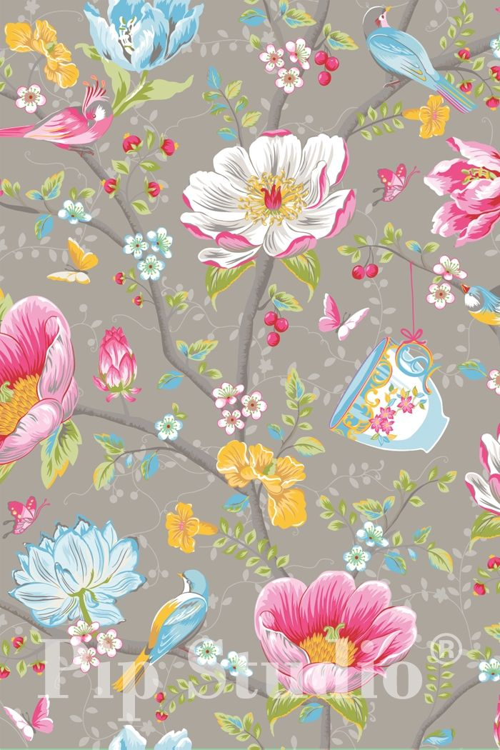 PiP Chinese Garden Grey wallpaper