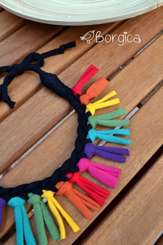Rainbow Colorful Tribal Fringe Bib Braided Necklace por Borgica