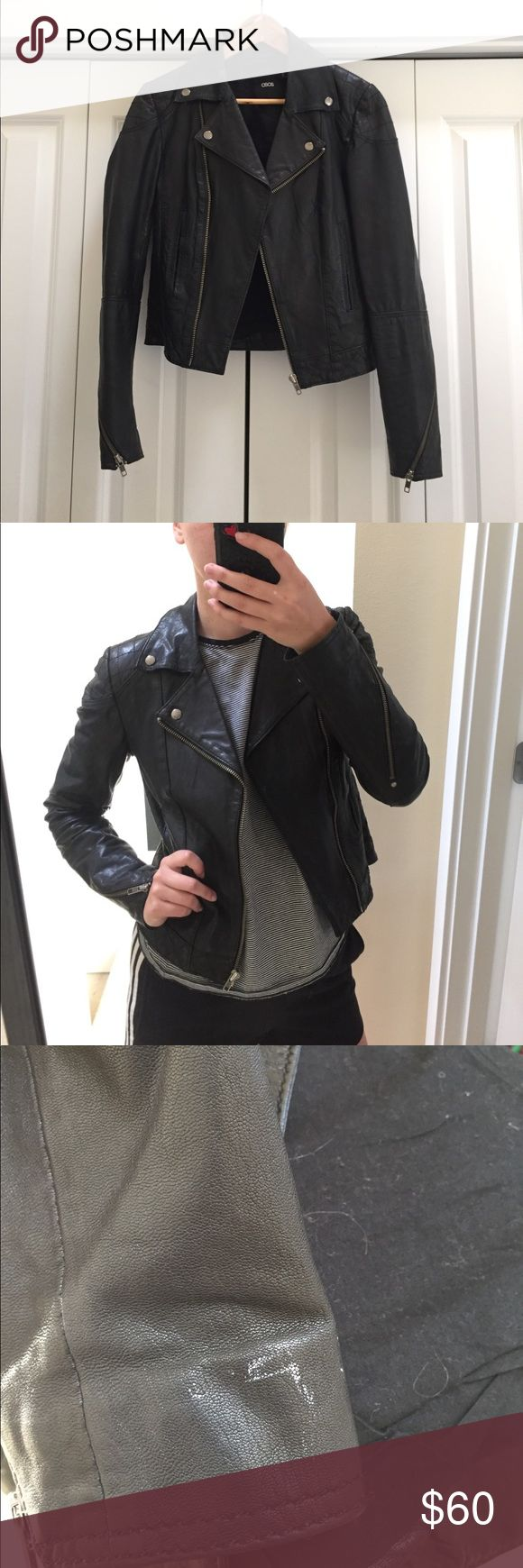 asos leather moto jacket GUC broken-in leather jacket from asos, size 4. Cute zipper details, hits right at the waist! Small white spot on sleeve, but overall good condition. Asos Jackets & Coats