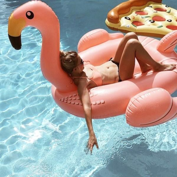 Flamingo Pool Float - Urban Outfitters but that pizza float in the back though