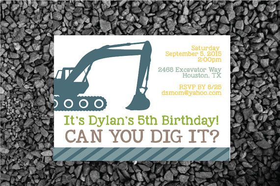 construction party invitation; construction party theme, Can you dig it party invite