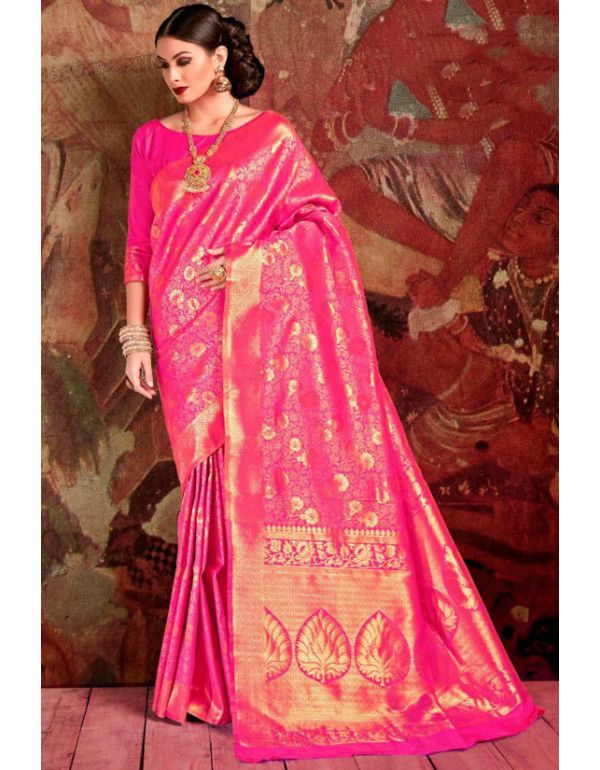 e1c3c6b36c Rani Pink Woven Soft Silk Saree in 2019 | Silk Sarees | Soft silk ...