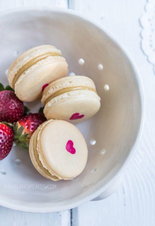 ... heart-inside macarons (strawberry cheesecake and vanilla malt) ...