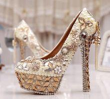 Tamaño 34-43 tamaño más del tacón alto zapatos cristalinos de la boda cenicienta zapatos cristalinos joya de la perla de marfil baile de novia blanco bombas(China (Mainland))