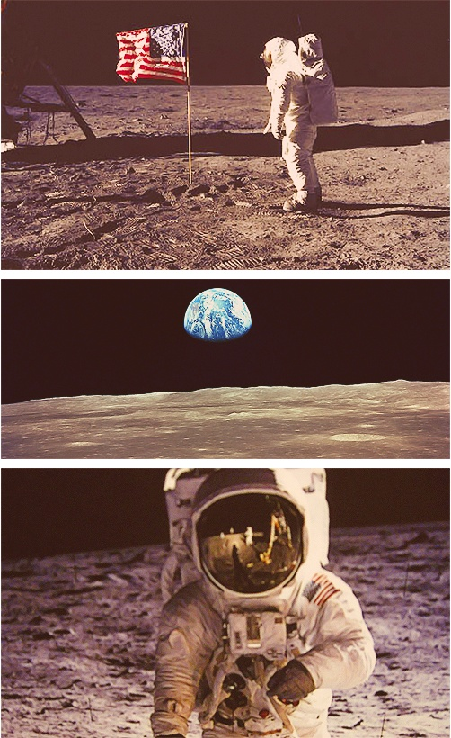 """""""It suddenly struck me that that tiny pea, pretty and blue, was the Earth. I put up my thumb and shut one eye, and my thumb blotted out the planet Earth. I didn't feel like a giant. I felt very, very small"""" - Neil Armstrong"""