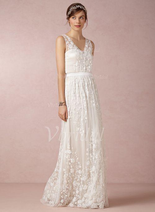 Wedding Dresses - $215.05 - A-Line/Princess V-neck Floor-Length Chiffon Lace Wedding Dress (0025055882)