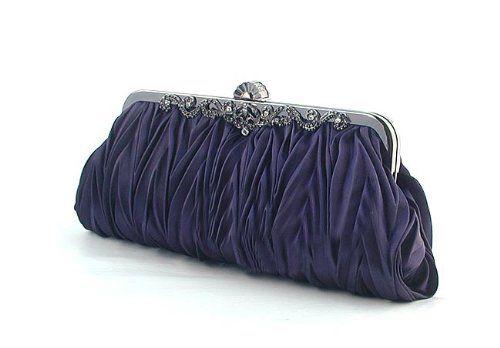 Satin Clutch, Dark Blue Evening Handbag, Gift Idea