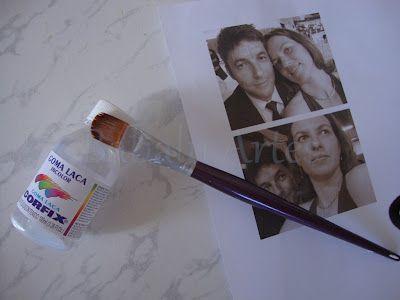 Laqueando uma foto impressa em impressora a jato de tinta. Pode passar o dedo, espirrar água, o que for! Não vai manchar sua foto!