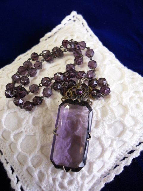 amethyst necklace, vintage: Vintage Amethysts, Purple, Amethysts Necklaces, Jewelry Bracelets, Gold Rings Jewelry, Vintage Necklaces, Jewelry Rings, Gold Jewelry, Vintage Style