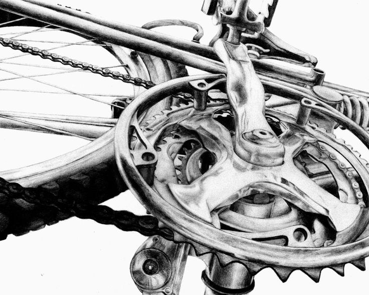 pencil drawing of bicycle parts - Google Search