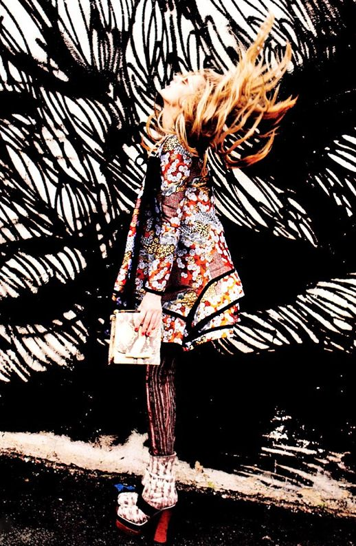 LE FASHION BLOG ELLE MAGAZINE EDITORIAL FALL 2012 RETRO MIX PRINTS FLORAL FULL ALINE JACKET CHUNKY PLATFORM HEELS ROUND SUNGLASSES MARNI LOUIS VUITTON PR...
