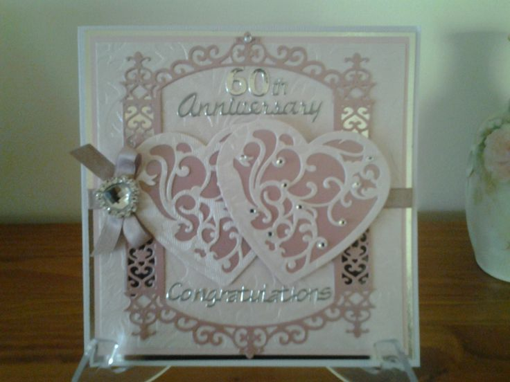 60th anniversary card Spellbinders vines of passion ...