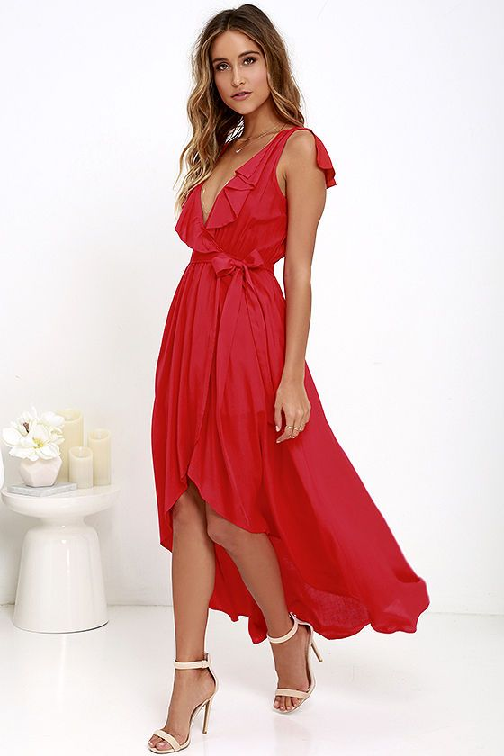 Merriment to Be Red High-Low Dress at Lulus.com!