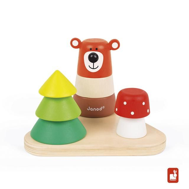 Janod Zigolos forest stacker is an adorable wooden stacking toy and puzzle. Mix and match the pieces to make crazy designs or solve the puzzle to create a bear, a tree and a Mushroom. Recommended for children 12 months of age and older.  Wooden stacking toy and puzzle  Blocks have pegs and holes to stay in place when stacked  Mix and match pieces to make a bear, a tree and a mushroom Includes 8 stackable blocks and a base.