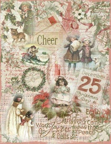 Antique Christmas | Altered Art Vintage Christmas Backgrounds - Digital | SenecaPondCrafts ...