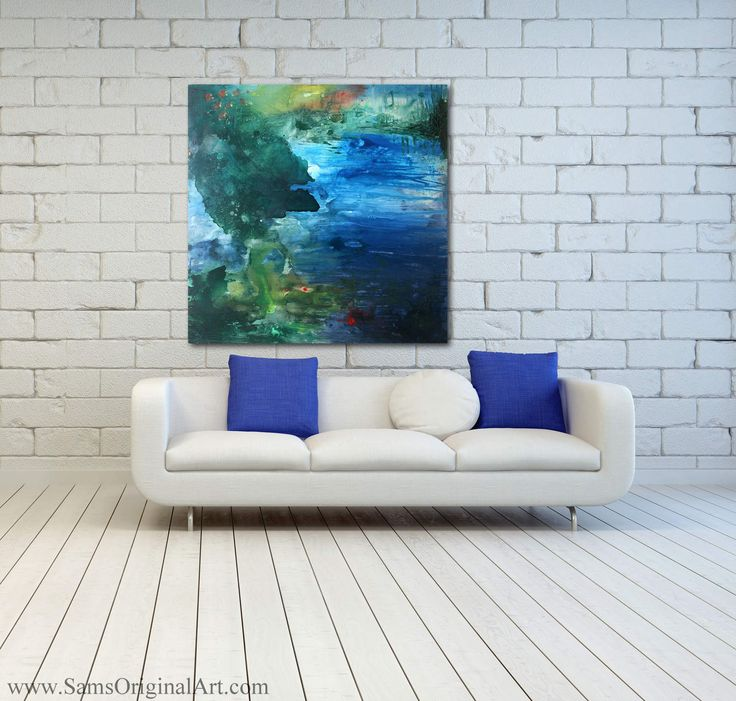 Immersion: In his piece called 'Immersion', the artist has, with his textured use of basic primary colors, created a dreamy, inviting landscape of colorful serenity.