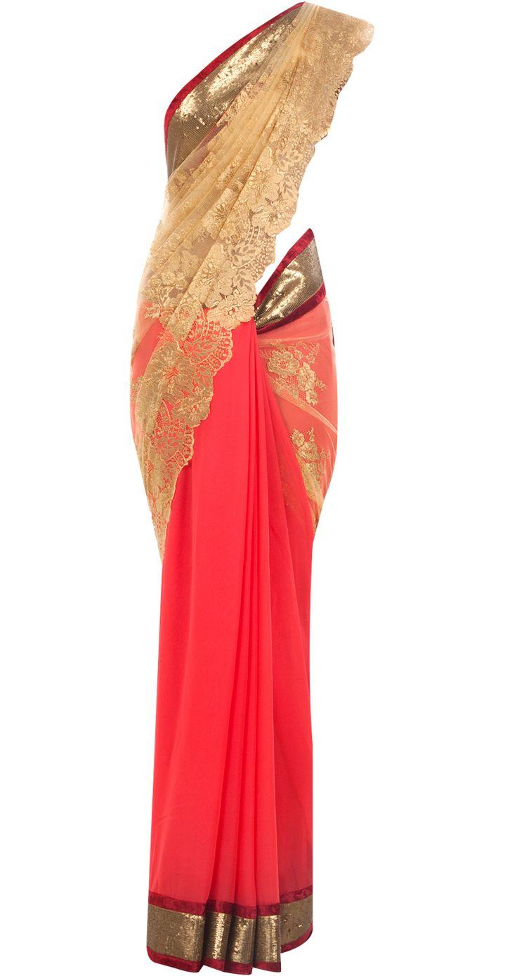Coral and gold chantilly lace sari by VARUN BAHL. Shop at http://www.perniaspopupshop.com/whats-new/varun-bahl-7028