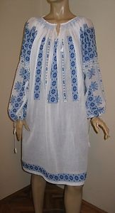 Hand embroidered Romanian blouse DRESS