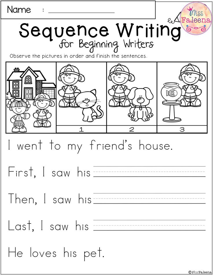 Free Sequence Writing for Beginning Writers First grade