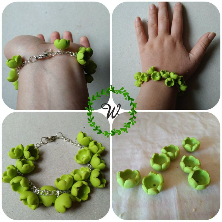 Lime bracelet The bracelet is made up of small flowers of polymer clay.