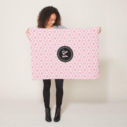 Monogram | Pale Pink White Trellis Pattern Fleece Blanket - monogram gifts unique design style monogrammed diy cyo customize