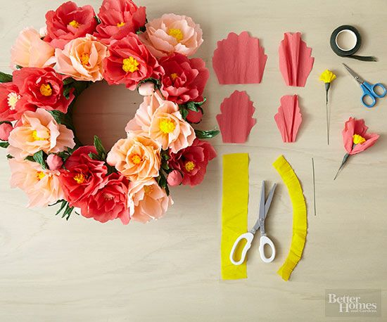 Learn how to make several different types of paper flowers. You can use the flowers to embellish a wreath, create a centerpiece, and more. /