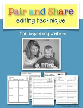Pair and Share Editing Procedure for Beginning Writers (an editing procedure that will help manage students during writing workshop lessons) Includes a differentiated activity to use when teaching and practicing the procedure. $
