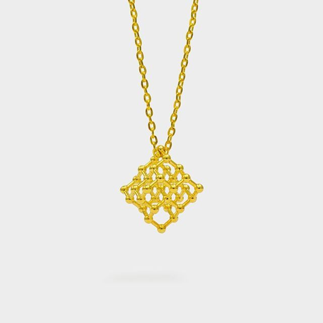 #Molecular #perfection (or face-centered cubic crystal structures are a girls best friends)  Our 3D printed diamond structure molecule pendant in 18k gold.  Find it at moleculestore.com  #gold #au #diamond #orgo #organicchemistry #chemistry #moleculeoftheday #staynerdy #science #molecule #chemistrylove #carbon #crystals #structure #scientist