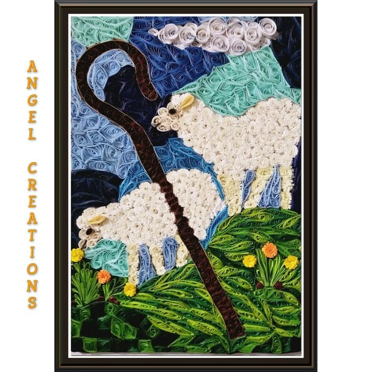 "Finally I'm done with this masterpiece inspired by ""The Good Shepherd"" painting in OMMC and this was definitely no ""Sheep""-ish business! 😁 #psalm23 #shepherd #sheep #quiiling"
