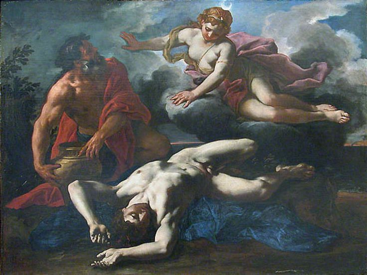 In Greek mythology, Orion was a giant huntsman whom Zeus placed among the stars as the constellation of Orion. Daniel Seiter's 1685 painting of Diana over Orion's corpse, before he is placed in the heavens.